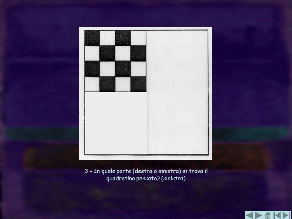 3 - In quale parte (destra o sinistra) si trova il quadratino pensato
