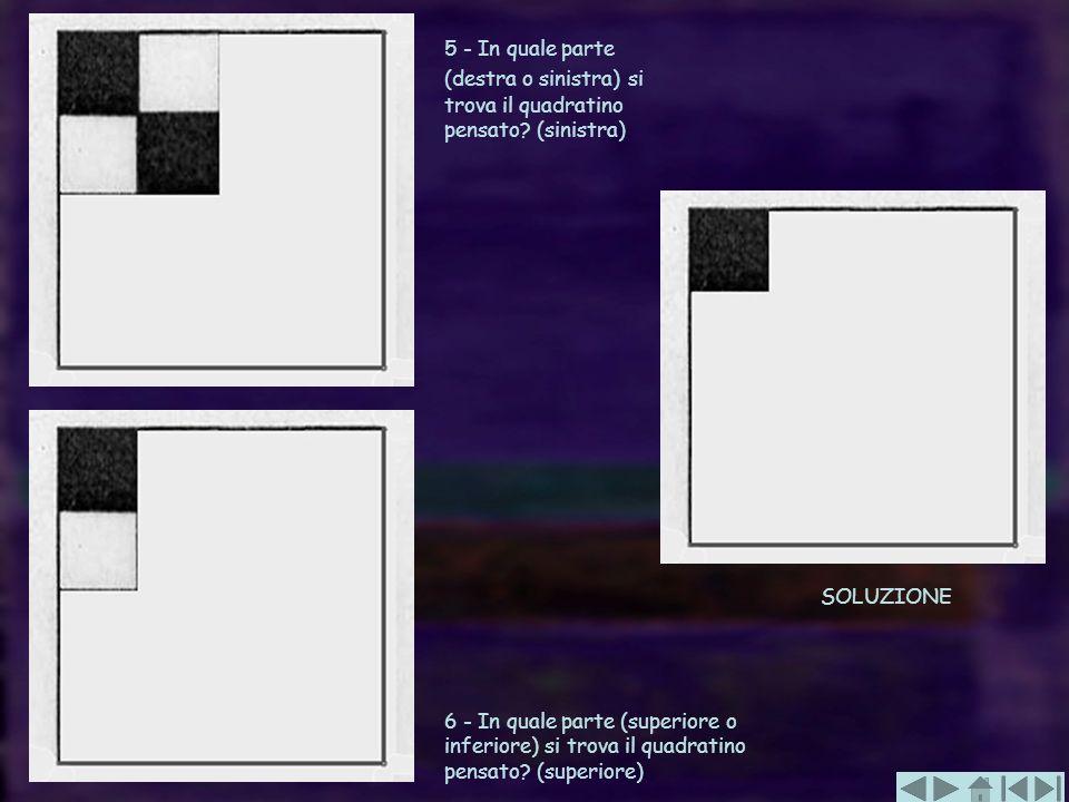 5 - In quale parte (destra o sinistra) si trova il quadratino pensato