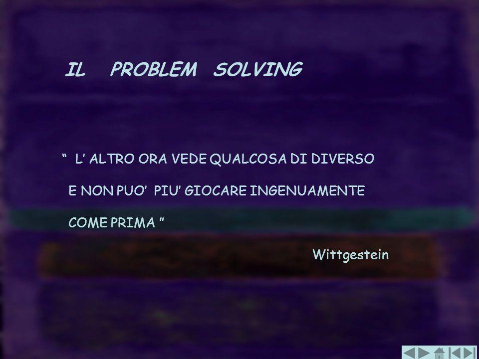 IL PROBLEM SOLVING E NON PUO' PIU' GIOCARE INGENUAMENTE COME PRIMA
