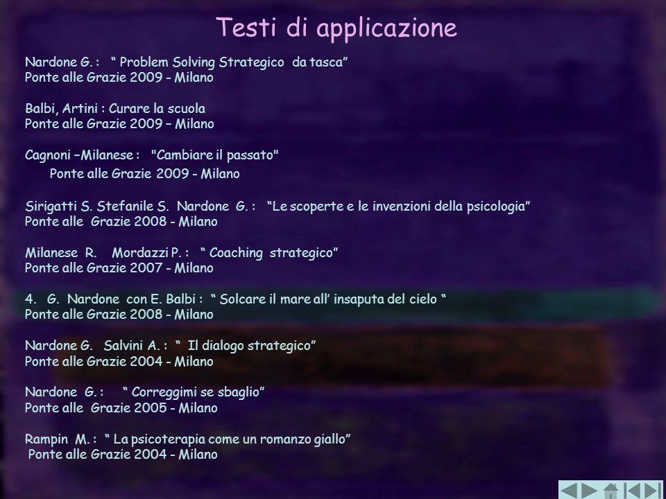 Testi di applicazione Nardone G. : Problem Solving Strategico da tasca Ponte alle Grazie 2009 - Milano.