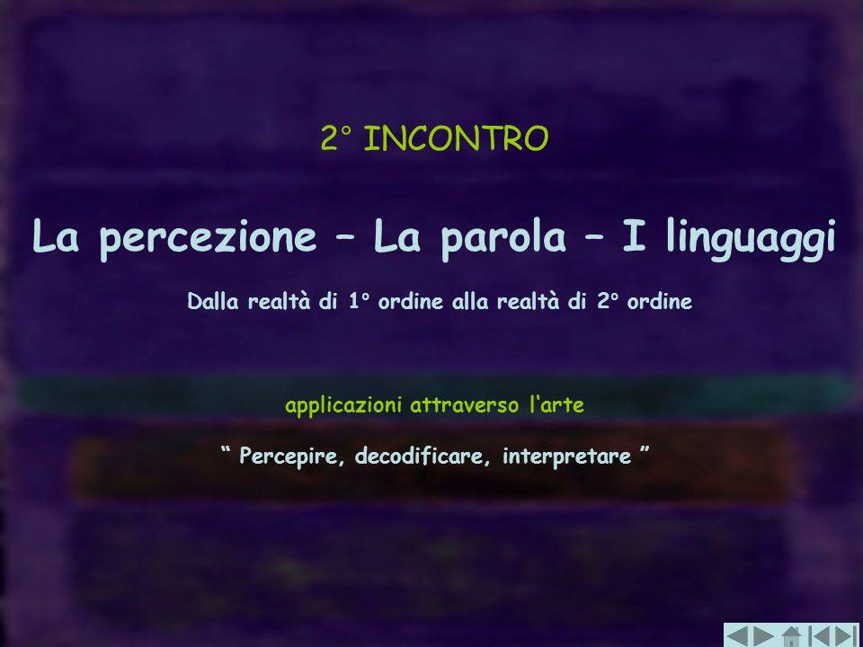 2° INCONTRO La percezione – La parola – I linguaggi Dalla realtà di 1° ordine alla realtà di 2° ordine.