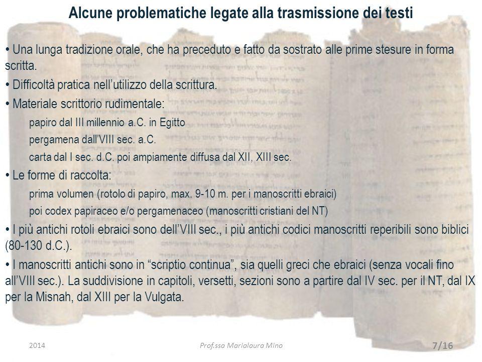 Alcune problematiche legate alla trasmissione dei testi