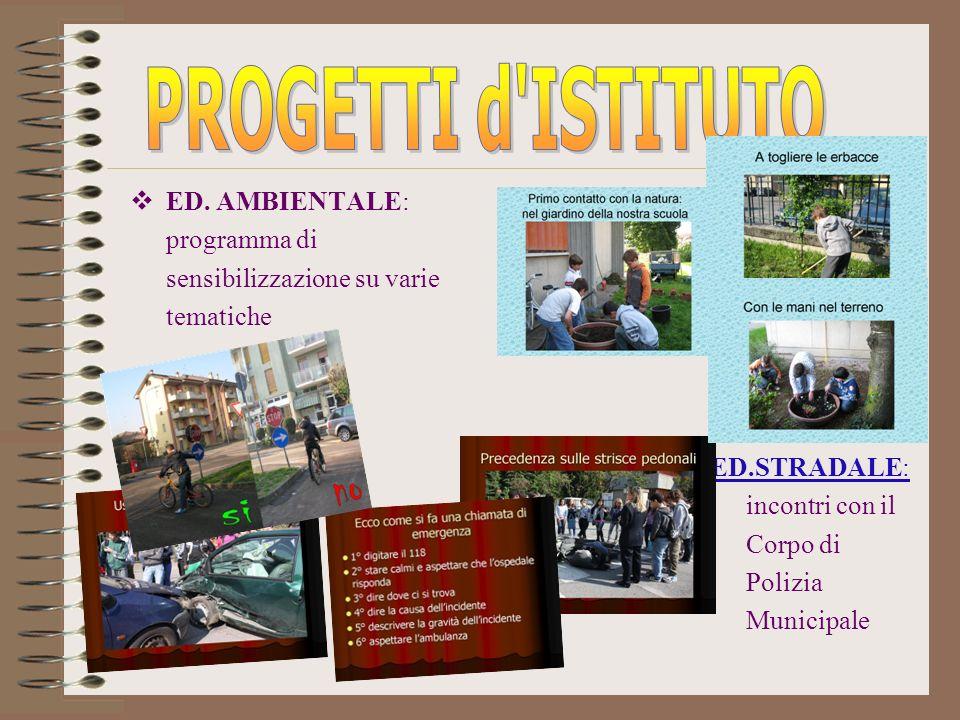 PROGETTI d ISTITUTO ED. AMBIENTALE: programma di sensibilizzazione su varie tematiche.