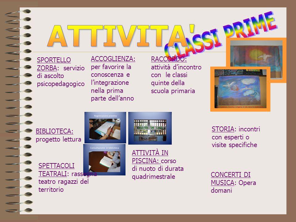 ATTIVITA CLASSI PRIME. SPORTELLO ZORBA: servizio di ascolto psicopedagogico.
