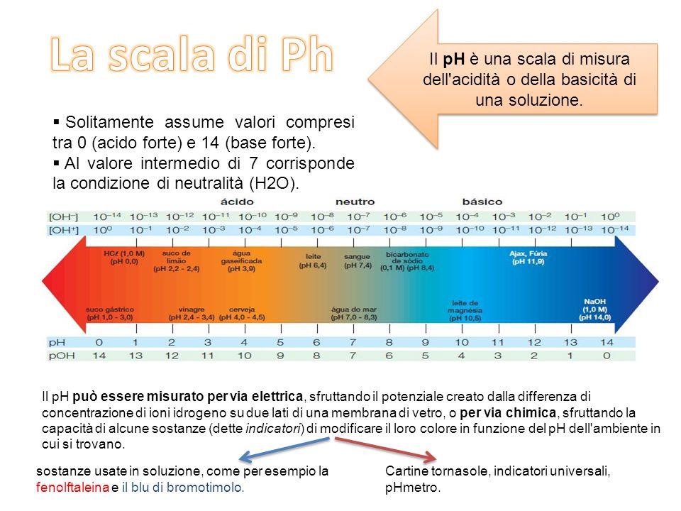 Il pH è una scala di misura dell acidità o della basicità di una soluzione.