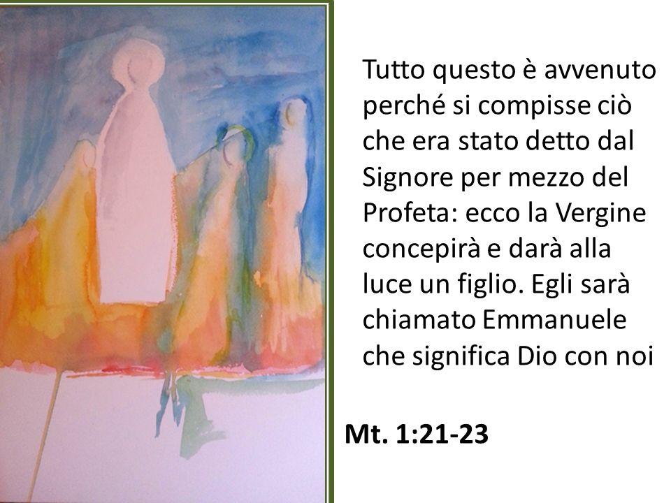 Tutto questo è avvenuto perché si compisse ciò che era stato detto dal Signore per mezzo del Profeta: ecco la Vergine concepirà e darà alla luce un figlio.