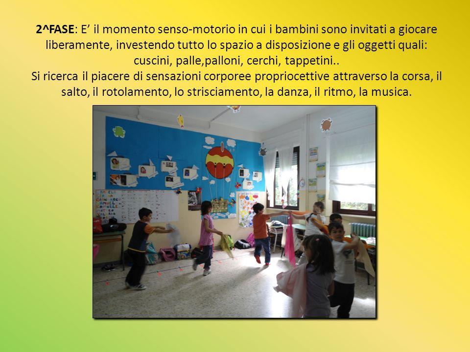 2^FASE: E' il momento senso-motorio in cui i bambini sono invitati a giocare liberamente, investendo tutto lo spazio a disposizione e gli oggetti quali: cuscini, palle,palloni, cerchi, tappetini..