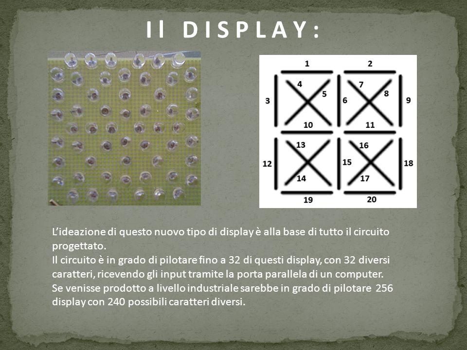 I l D I S P L A Y : L'ideazione di questo nuovo tipo di display è alla base di tutto il circuito progettato.