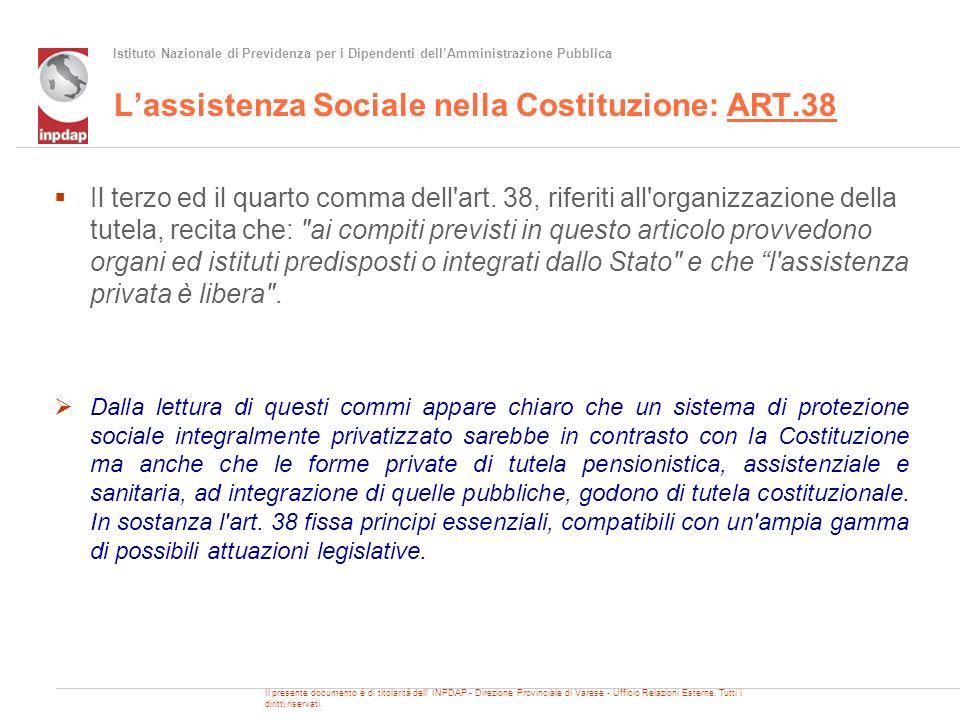L'assistenza Sociale nella Costituzione: ART.38