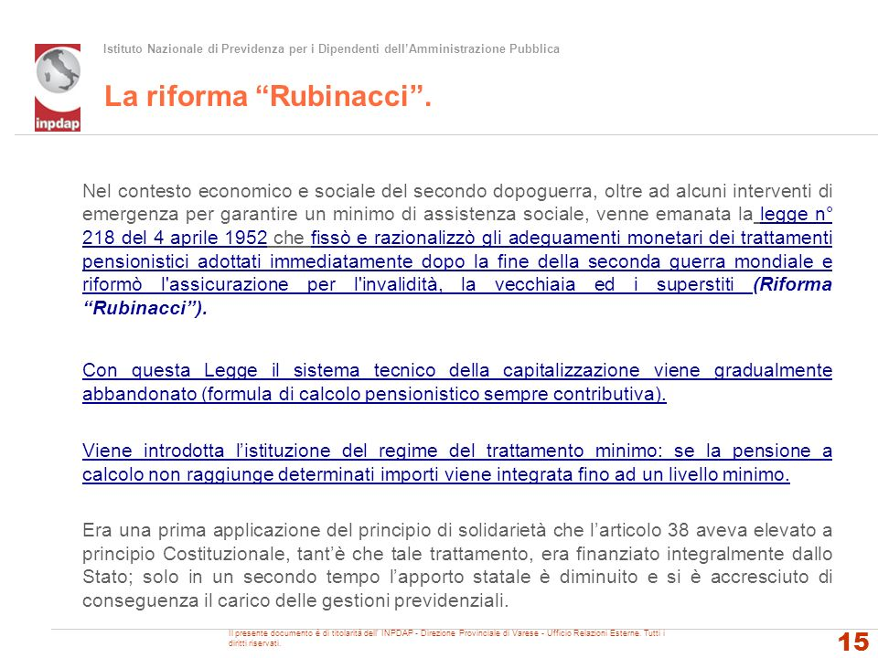 La riforma Rubinacci .