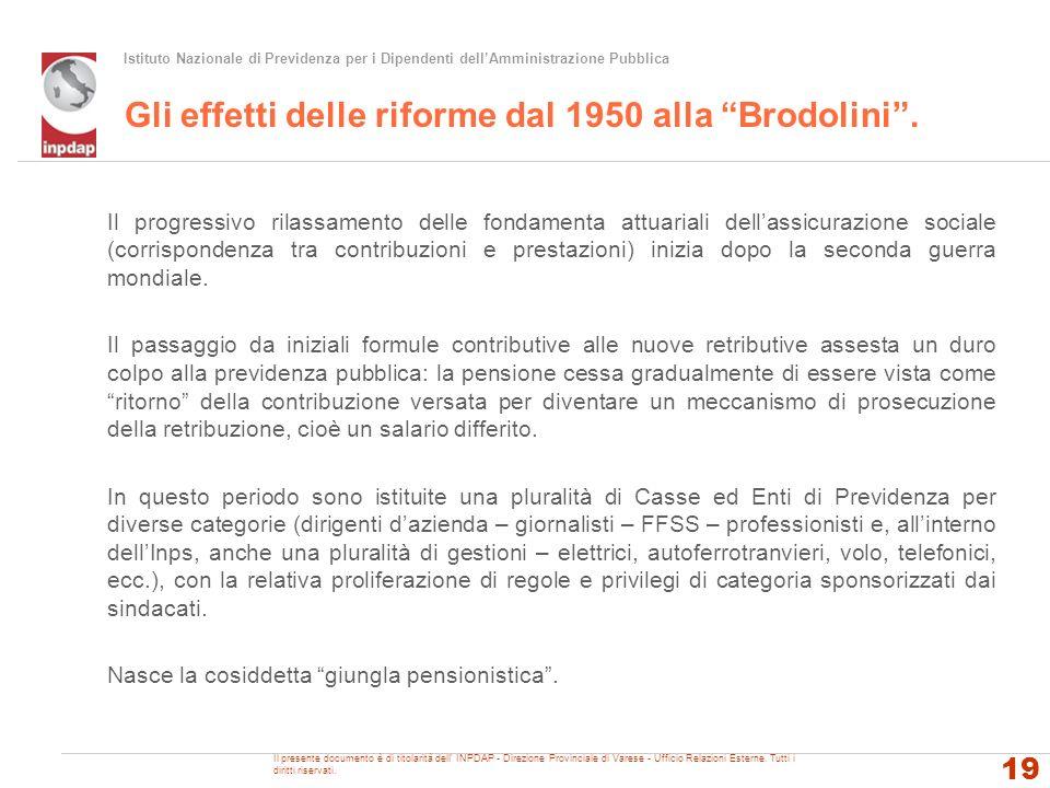 Gli effetti delle riforme dal 1950 alla Brodolini .