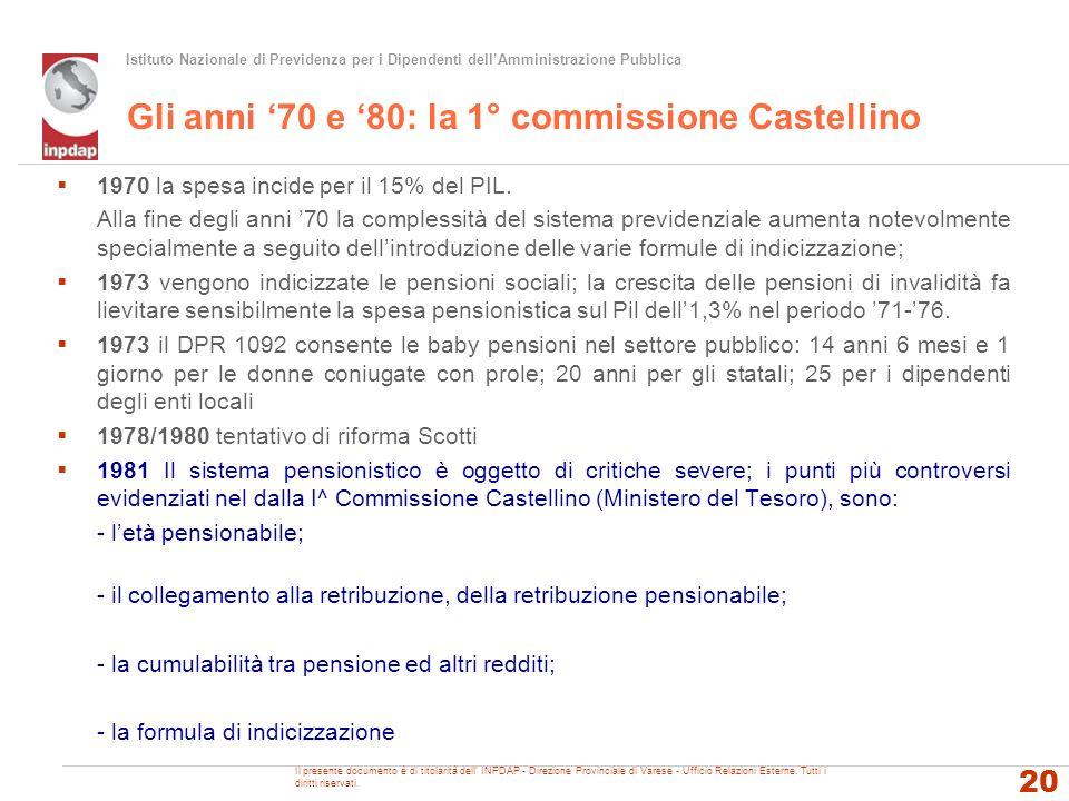 Gli anni '70 e '80: la 1° commissione Castellino