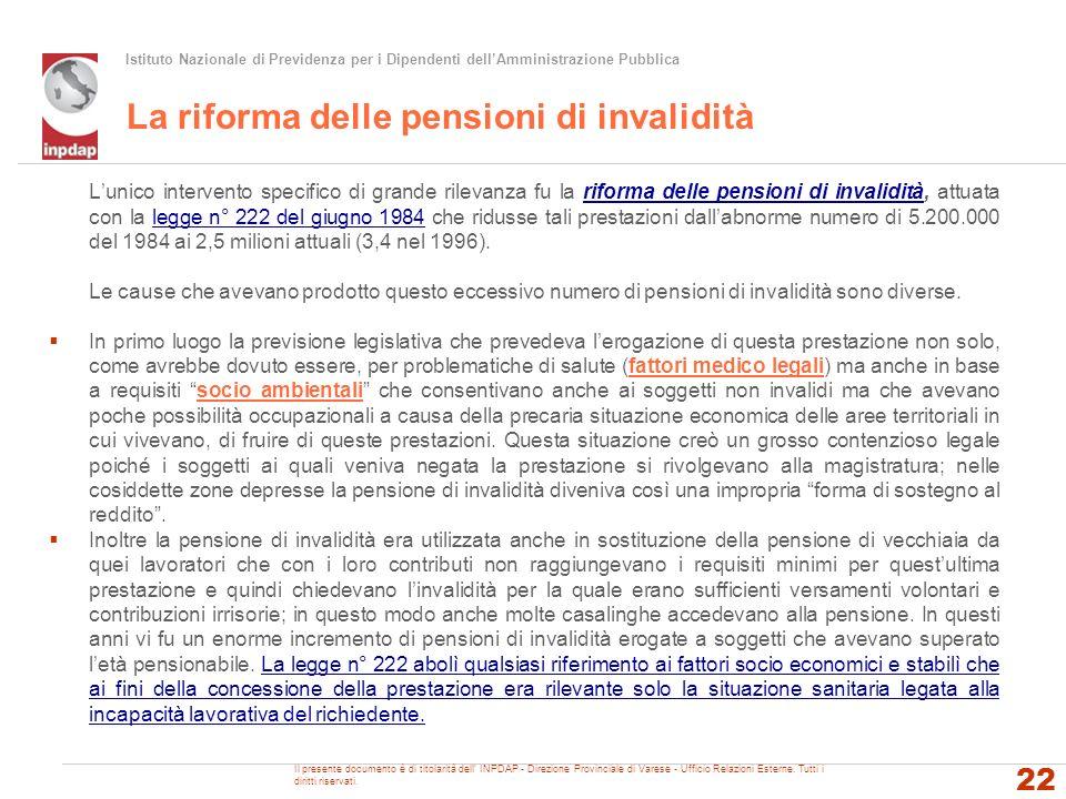 La riforma delle pensioni di invalidità