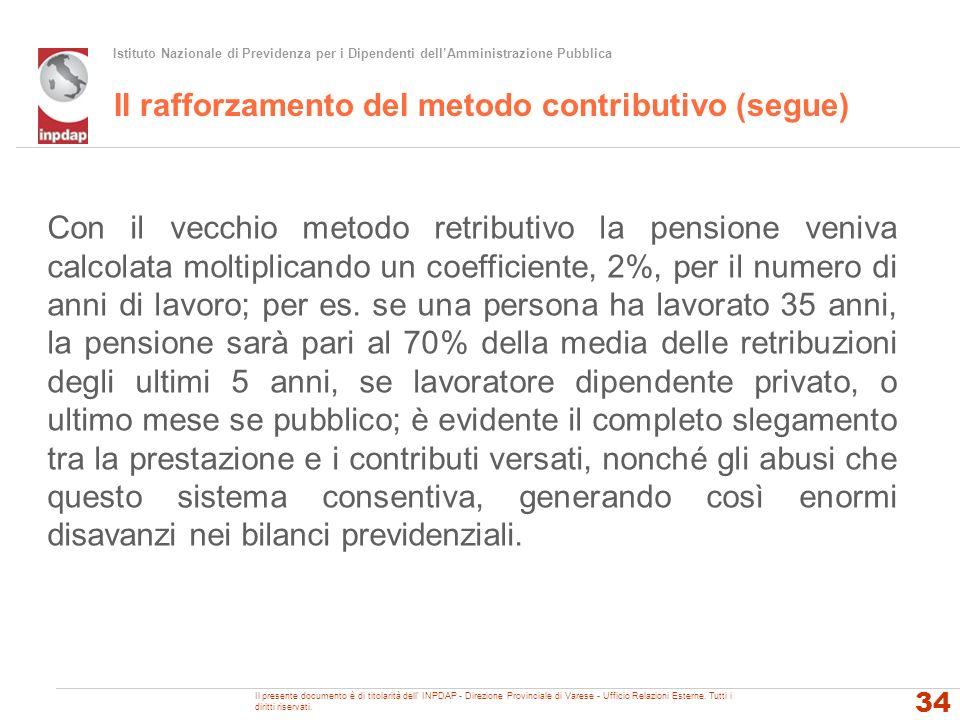 Il rafforzamento del metodo contributivo (segue)