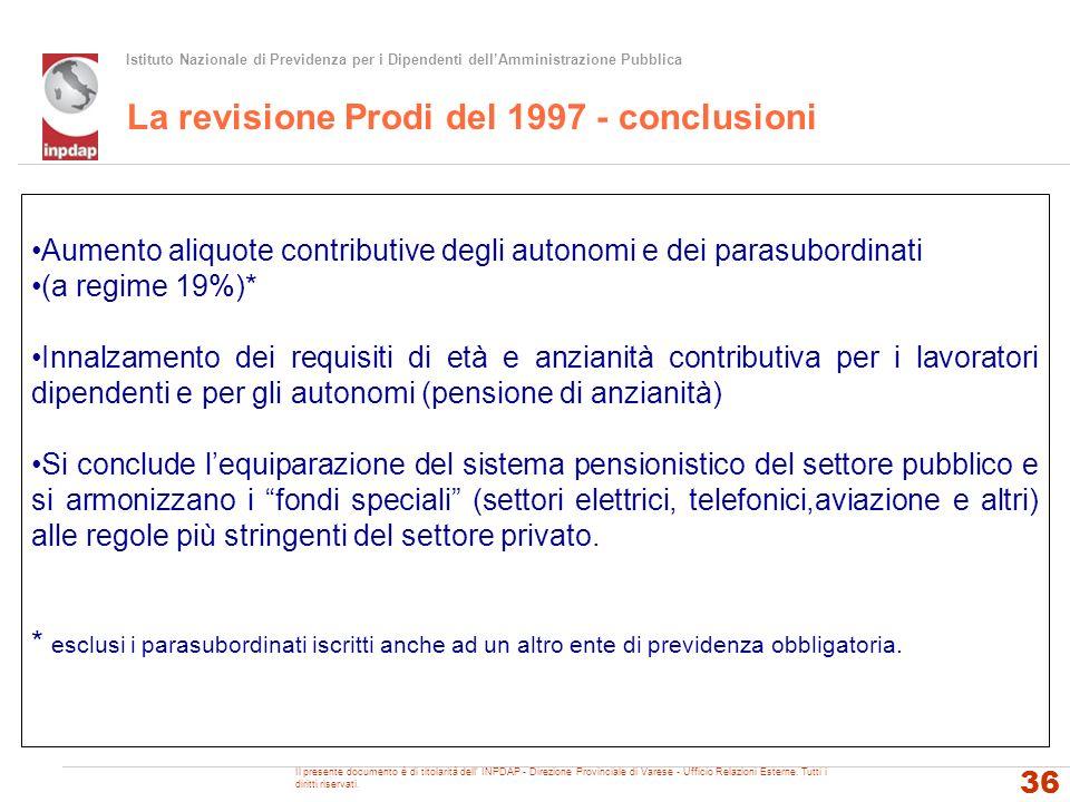 La revisione Prodi del 1997 - conclusioni
