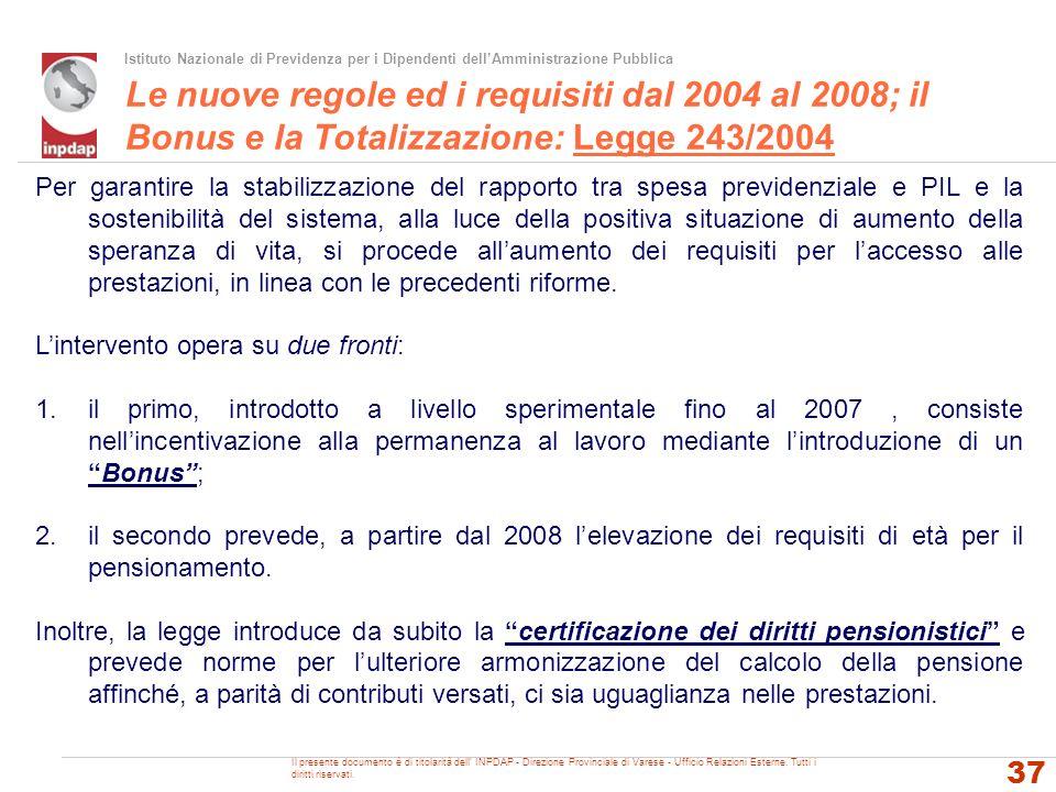 Le nuove regole ed i requisiti dal 2004 al 2008; il Bonus e la Totalizzazione: Legge 243/2004