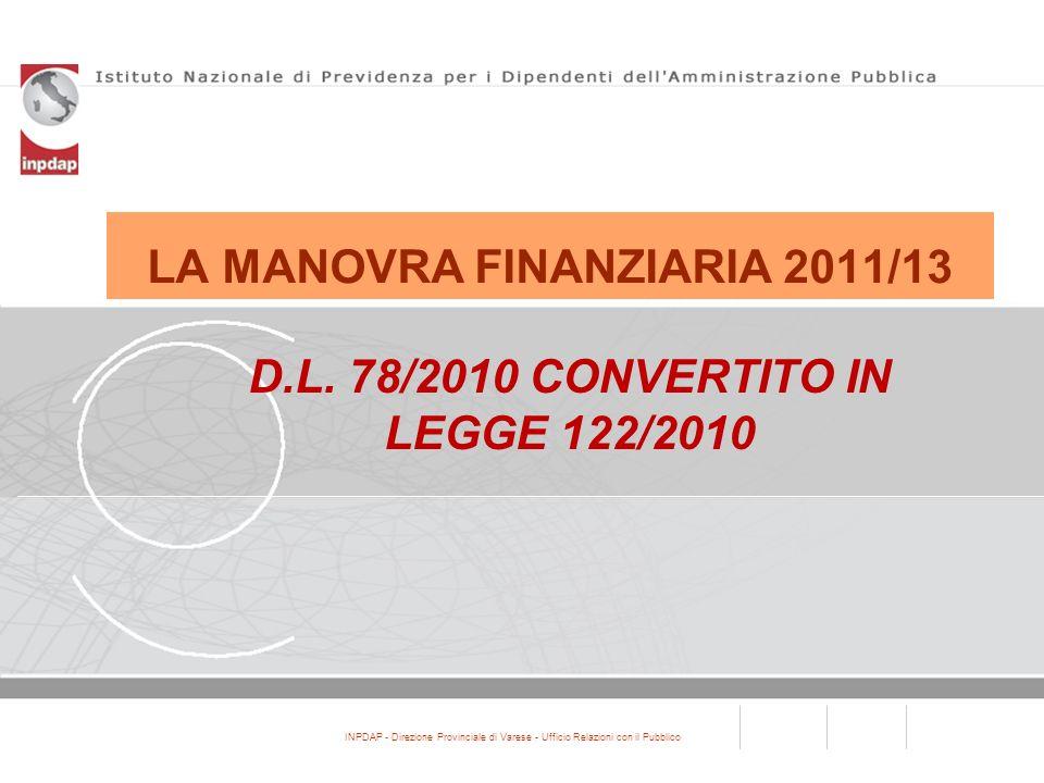 LA MANOVRA FINANZIARIA 2011/13