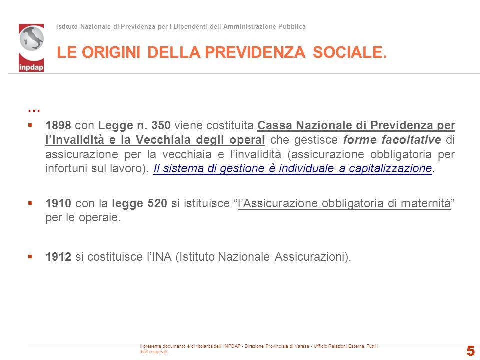 LE ORIGINI DELLA PREVIDENZA SOCIALE.