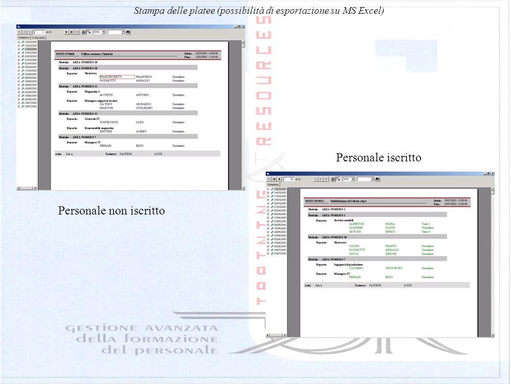 Stampa delle platee (possibilità di esportazione su MS Excel)