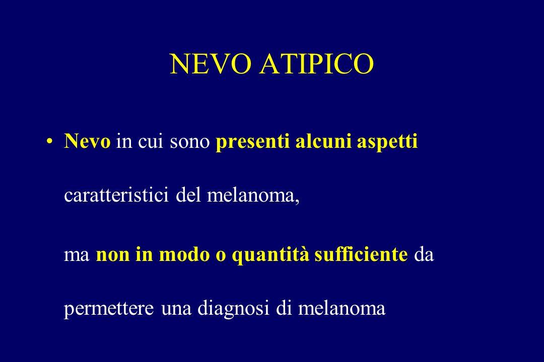 NEVO ATIPICO Nevo in cui sono presenti alcuni aspetti caratteristici del melanoma,