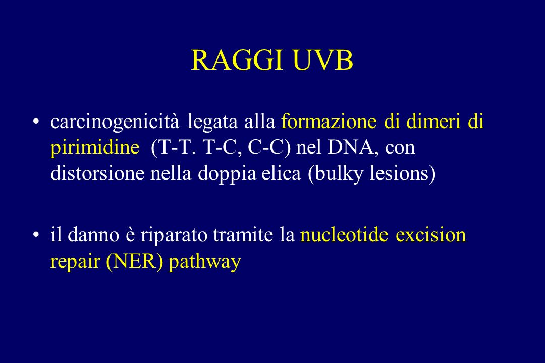 RAGGI UVB carcinogenicità legata alla formazione di dimeri di pirimidine (T-T. T-C, C-C) nel DNA, con distorsione nella doppia elica (bulky lesions)