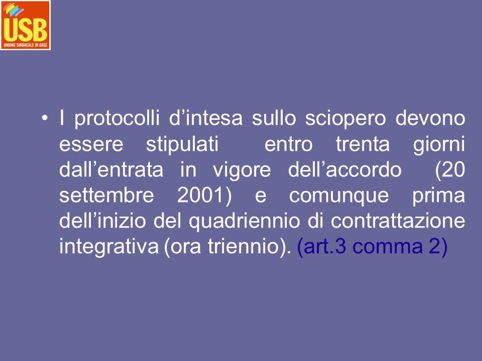 I protocolli d'intesa sullo sciopero devono essere stipulati entro trenta giorni dall'entrata in vigore dell'accordo (20 settembre 2001) e comunque prima dell'inizio del quadriennio di contrattazione integrativa (ora triennio).