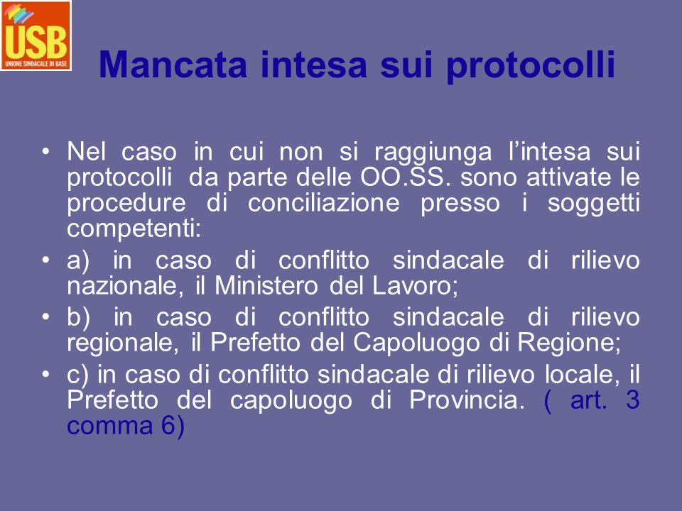 Mancata intesa sui protocolli
