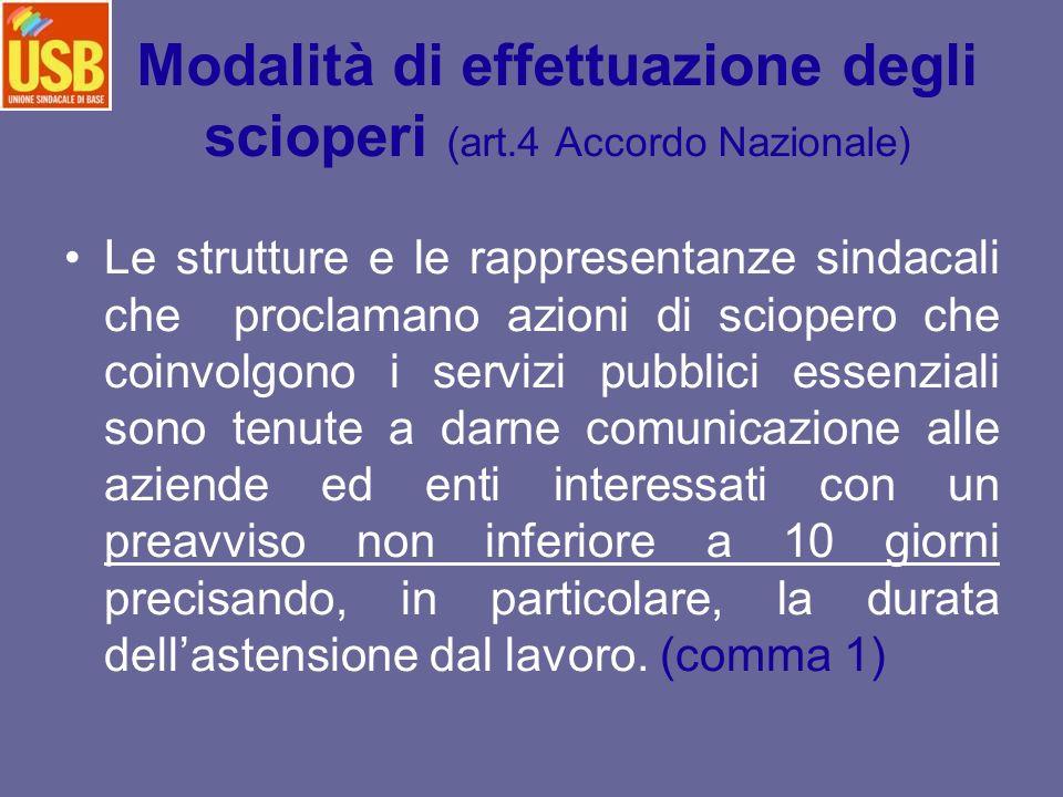 Modalità di effettuazione degli scioperi (art.4 Accordo Nazionale)