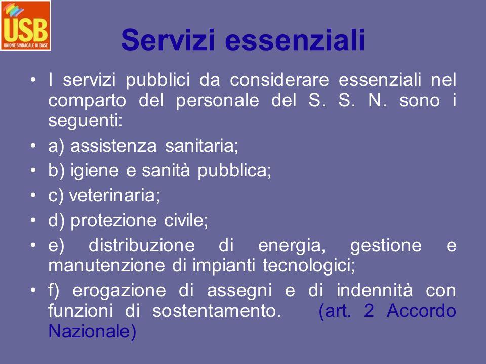 Servizi essenziali I servizi pubblici da considerare essenziali nel comparto del personale del S. S. N. sono i seguenti: