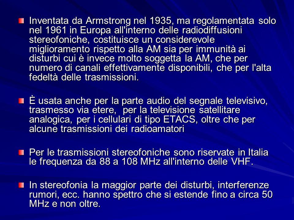 Inventata da Armstrong nel 1935, ma regolamentata solo nel 1961 in Europa all interno delle radiodiffusioni stereofoniche, costituisce un considerevole miglioramento rispetto alla AM sia per immunità ai disturbi cui è invece molto soggetta la AM, che per numero di canali effettivamente disponibili, che per l alta fedeltà delle trasmissioni.