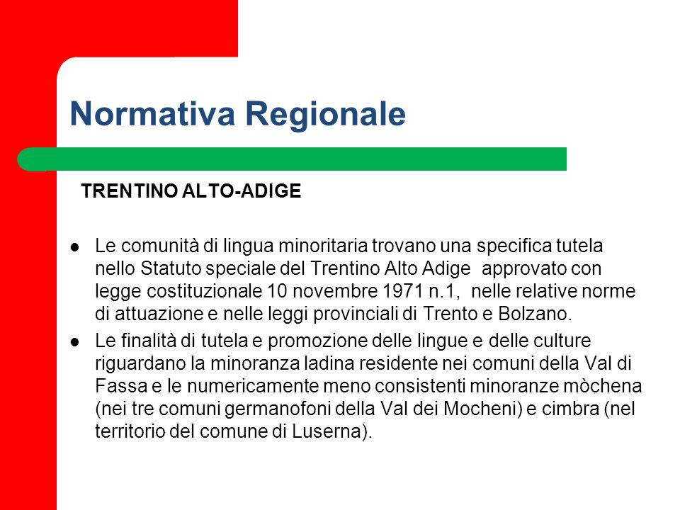 Normativa Regionale TRENTINO ALTO-ADIGE