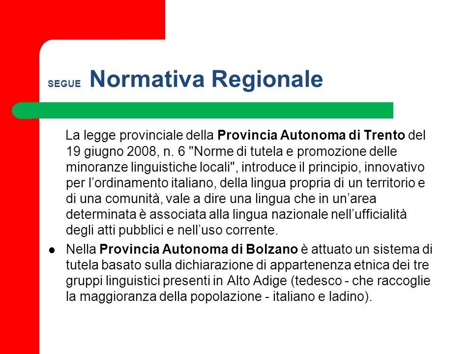 SEGUE Normativa Regionale