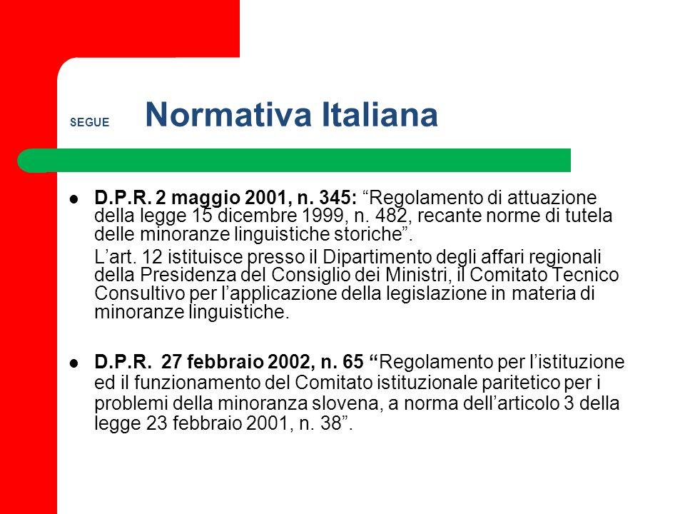SEGUE Normativa Italiana