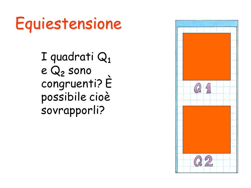 Equiestensione I quadrati Q1 e Q2 sono congruenti È possibile cioè sovrapporli
