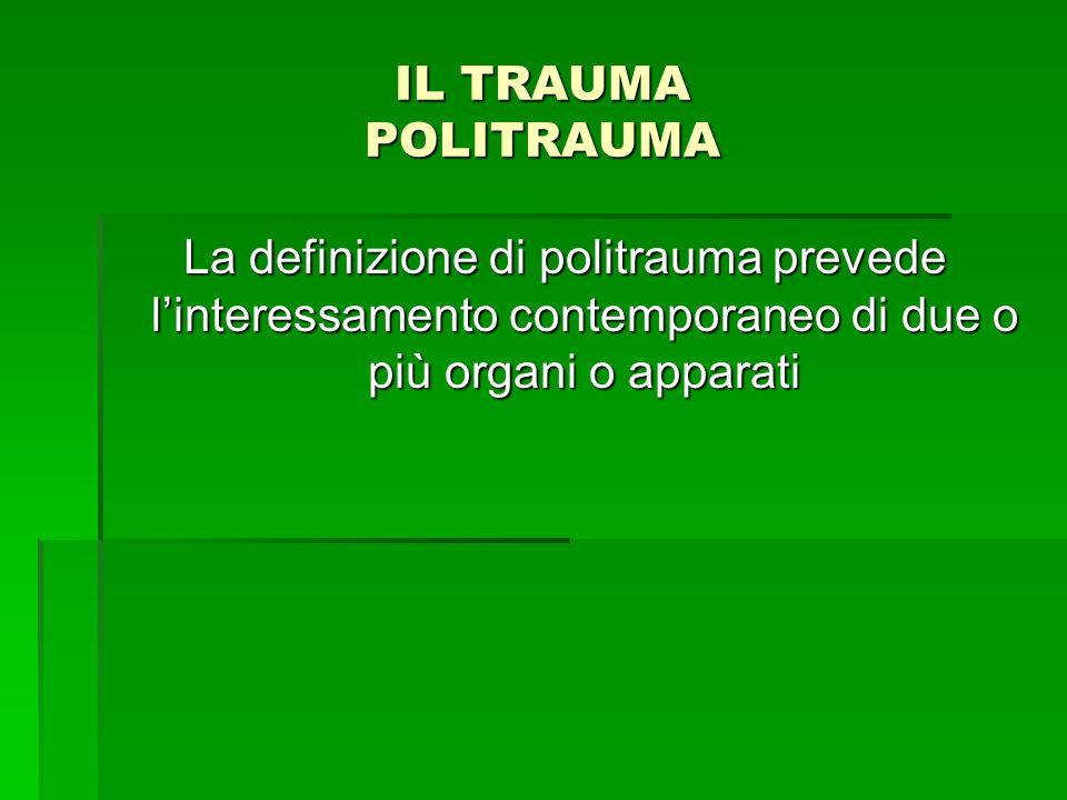 IL TRAUMA POLITRAUMA La definizione di politrauma prevede l'interessamento contemporaneo di due o più organi o apparati.