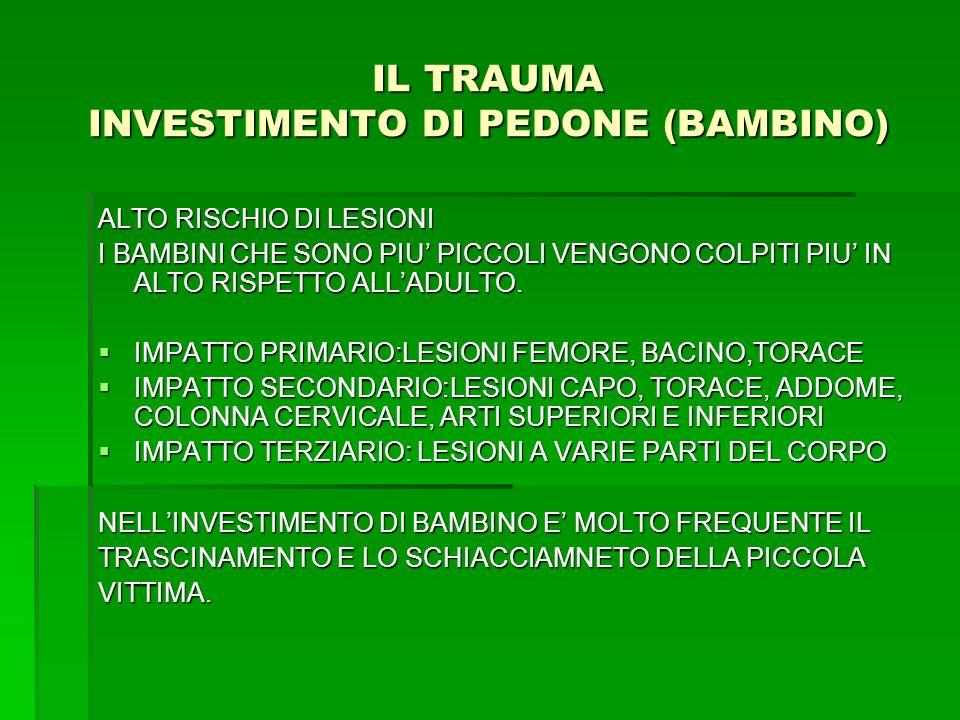 IL TRAUMA INVESTIMENTO DI PEDONE (BAMBINO)