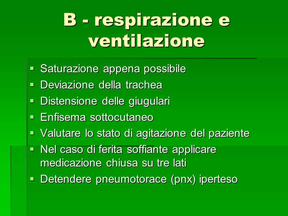 B - respirazione e ventilazione