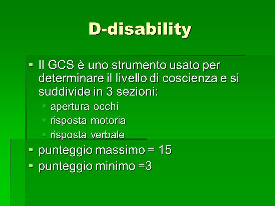 D-disability Il GCS è uno strumento usato per determinare il livello di coscienza e si suddivide in 3 sezioni: