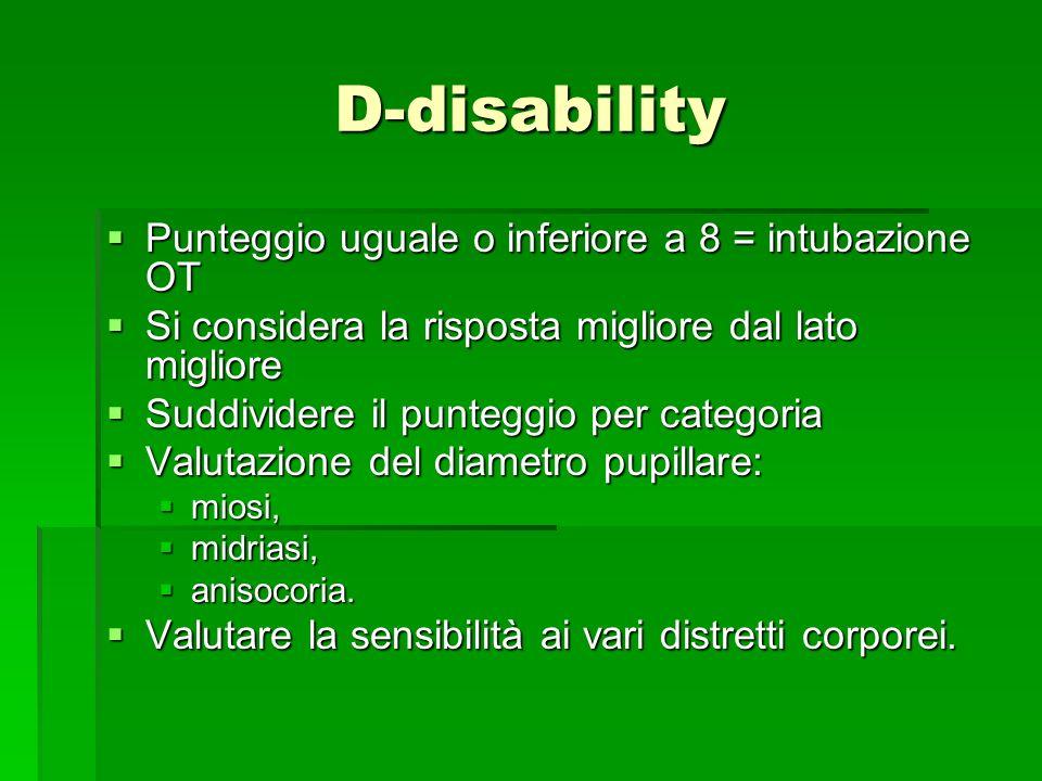 D-disability Punteggio uguale o inferiore a 8 = intubazione OT