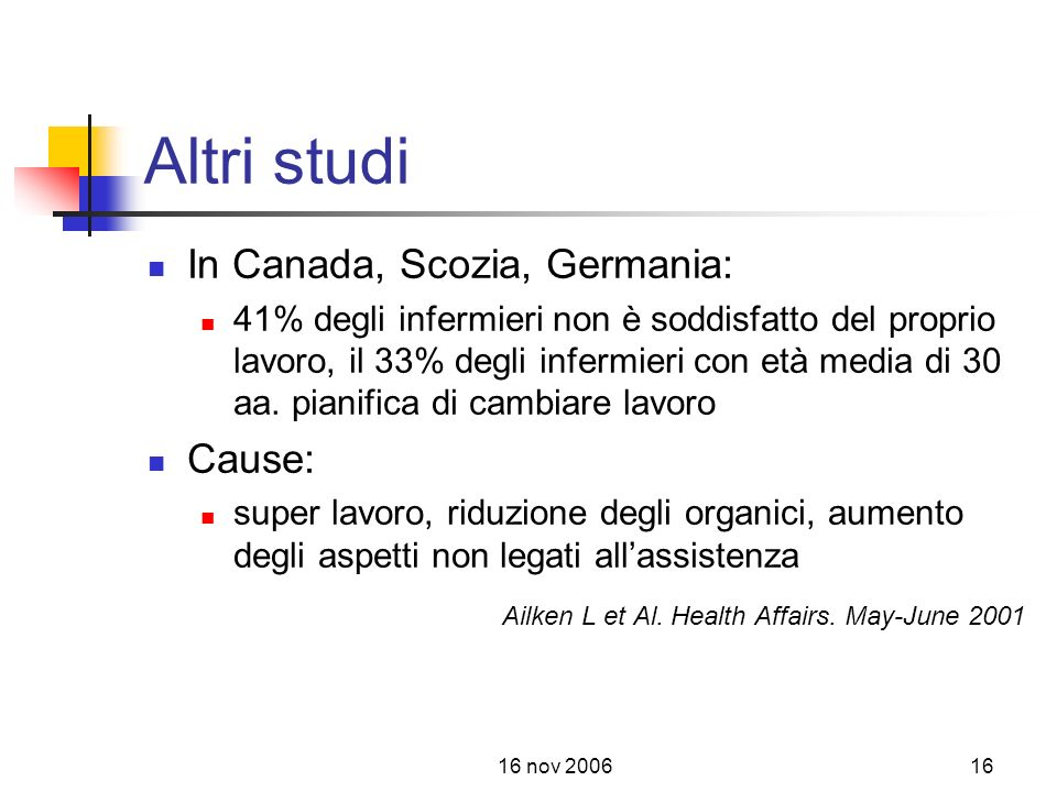 Altri studi In Canada, Scozia, Germania: Cause: