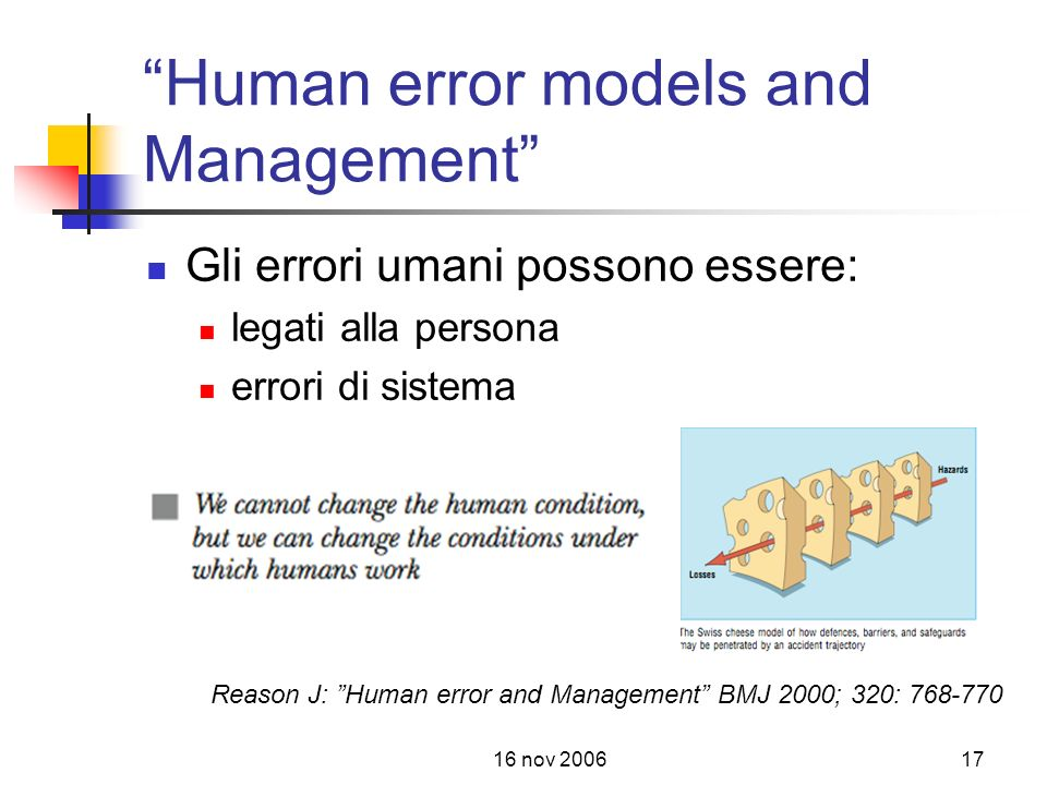 Human error models and Management