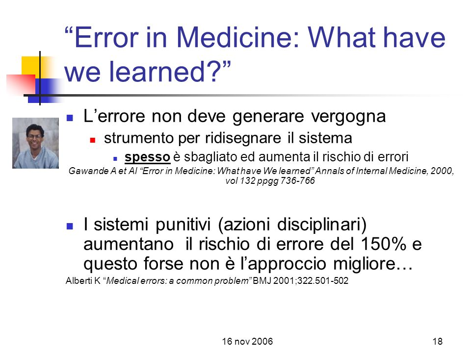 Error in Medicine: What have we learned
