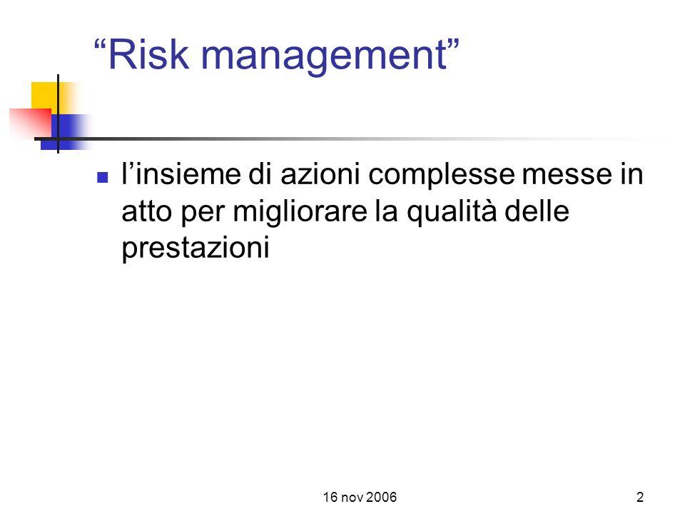 Risk management l'insieme di azioni complesse messe in atto per migliorare la qualità delle prestazioni.