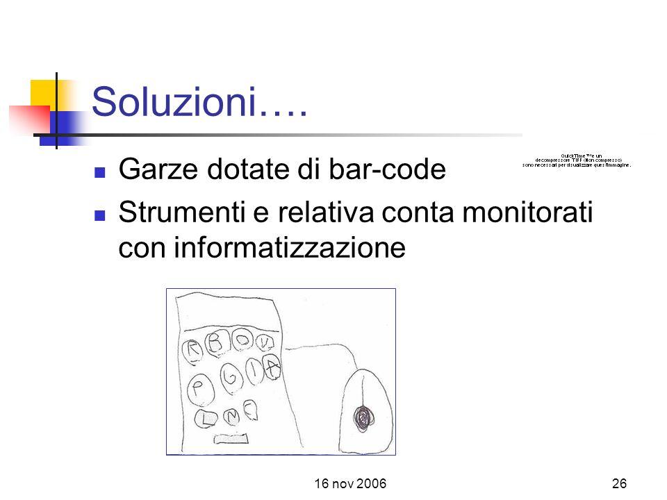 Soluzioni…. Garze dotate di bar-code