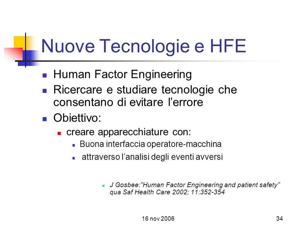 Nuove Tecnologie e HFE Human Factor Engineering