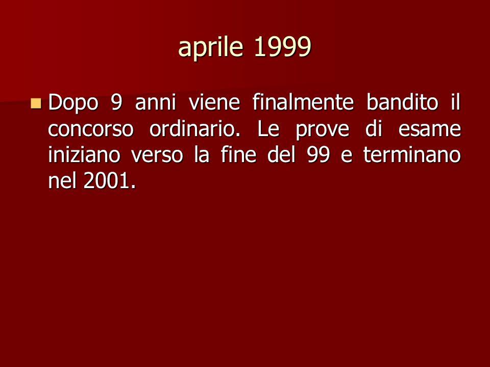 aprile 1999 Dopo 9 anni viene finalmente bandito il concorso ordinario.