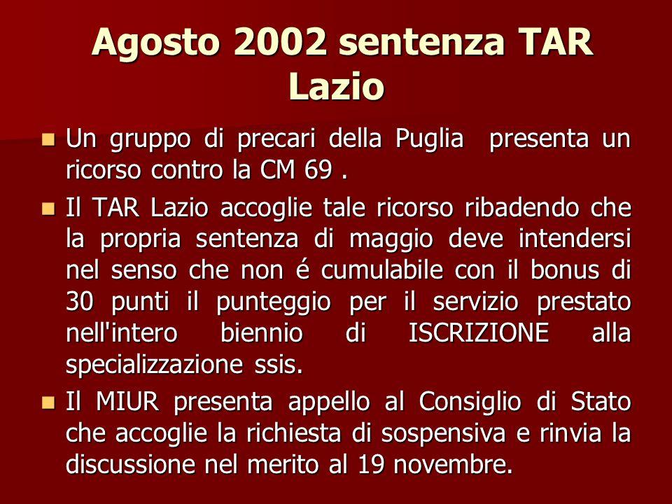 Agosto 2002 sentenza TAR Lazio
