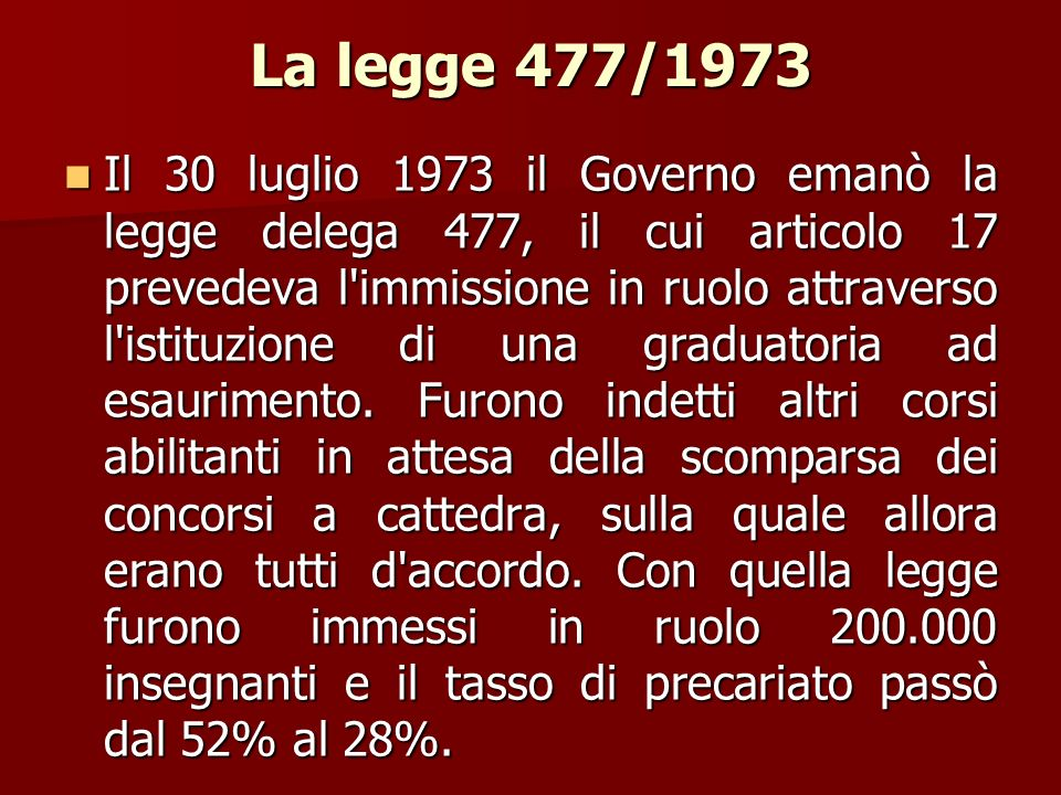 La legge 477/1973