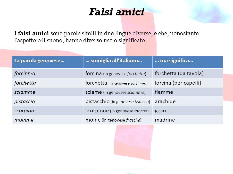 Falsi amici I falsi amici sono parole simili in due lingue diverse, e che, nonostante l'aspetto o il suono, hanno diverso uso o significato.