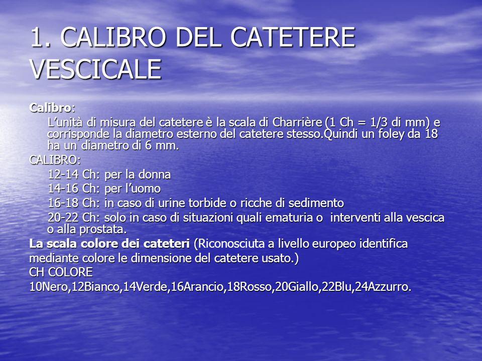 1. CALIBRO DEL CATETERE VESCICALE